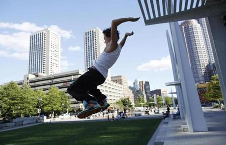 Nathaniel Marshall, 13, of Epping, N.H., practiced parkour with his friends.
